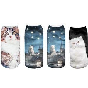 3 Pair of Printed Ankle Socks - Cats!